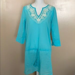Turquoise blue swimsuit cover-up small